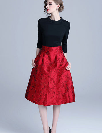 Womens Black-Red Jacquard Stitching Slim A-Line Dress