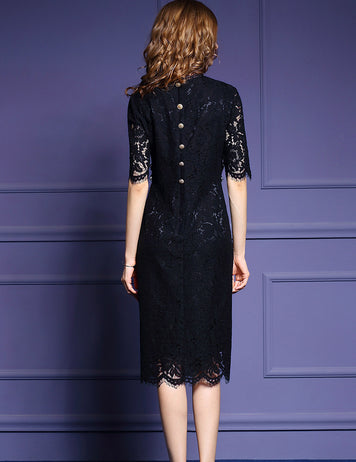 Womens Black Beaded Buttoned Midi Dress