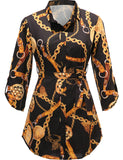 Womens Chains Print Belted Black Casual Dress