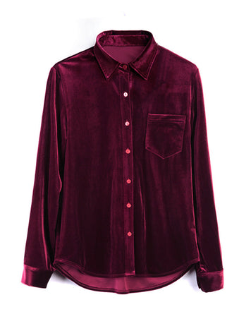 Womens Fashion Plus Size Solid Color Velvet Shirt