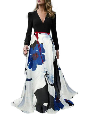 Womens Long Sleeves Belt Printed Stitching Long Dress