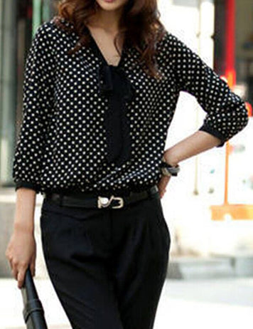 Womens Polka Dot Chiffon Blouse