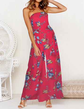 Red Tube Top Backless Floral Printed Lace Up Wide Leg Jumpsuit
