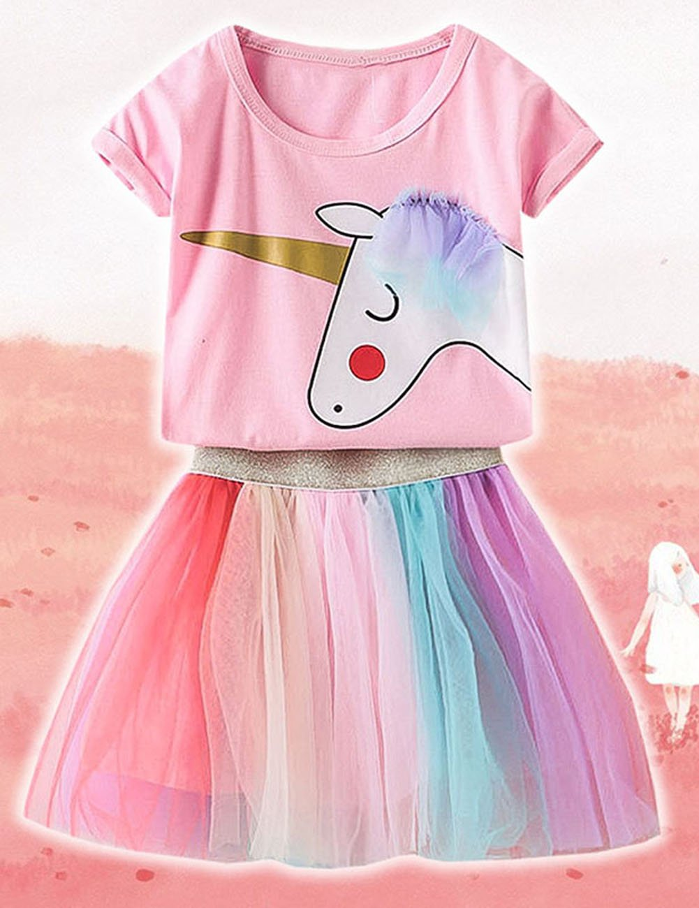 9a93da98e4b Best Baby Girls Kids Unicorn Rainbow Lace Tutu Tulle Birthday ...