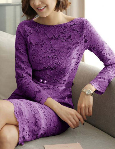 Boat Neck Long-Sleeved Hollow Solid Lace Bodycon Midi Dress