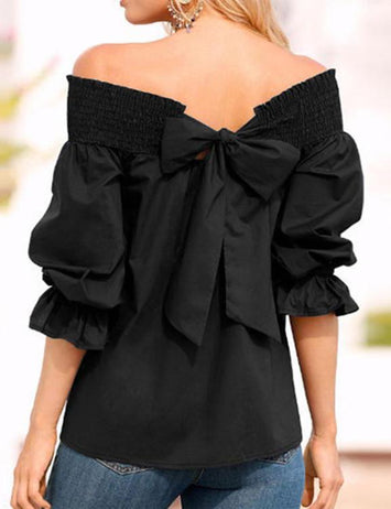 Off Shoulder Lotus Blouse
