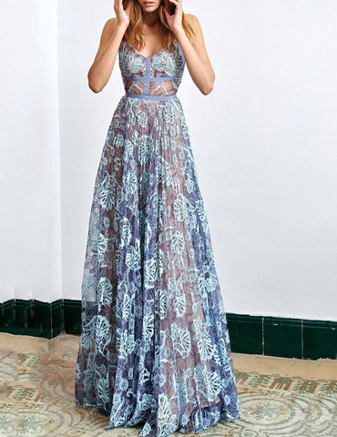 Sexy Strap Sleeveless Folral Printed Sewing Evening Maxi Dress