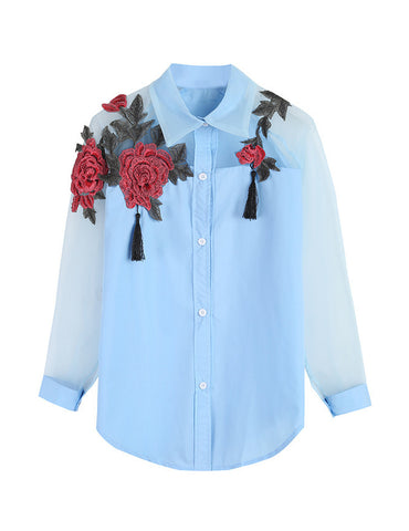 Floral Embroidered Elegant Raglan Sleeve Work Blouse