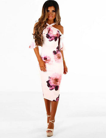 Halter Neck Floral Printed Flounced Sleeves Bodycon Dress