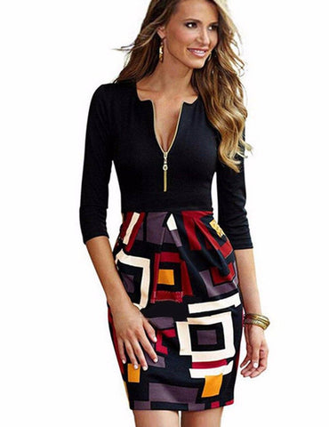 Sheath Sexy zipper V-Neck Geometric Stitched Half Sleeve Mini Dress