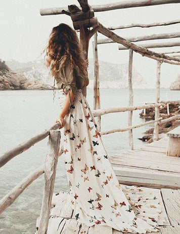 Two-Piece Off Shoulder Butterfly Print Ruffled Bohemian Casual Maxi Dress