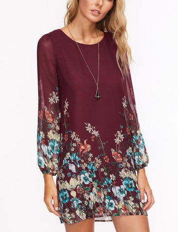 burgundy floral casual dress
