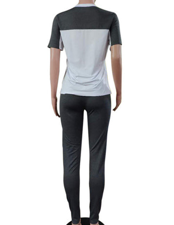 Buy Grey Short Sleeved T-shirt Sports Suit Online