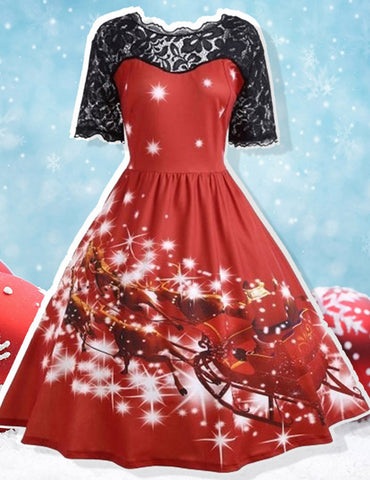 Printing Patchwork Large Pendulum Type Christmas Retro Party Dress