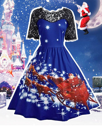 printing patchwork christmas dress