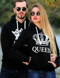 king queen printed couple matching hoodie