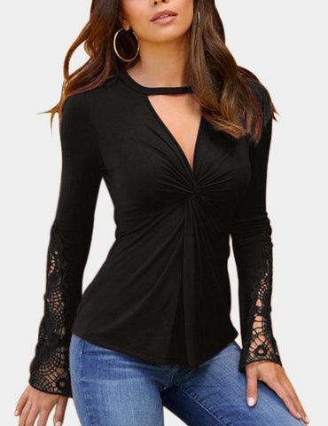 Deep V-Neck Long Sleeves Lace Detail Twist Knot Blouse
