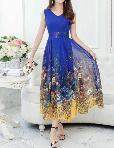 Casual V-Neck Sleeveless Multicolor Chiffon Long Maxi Dress