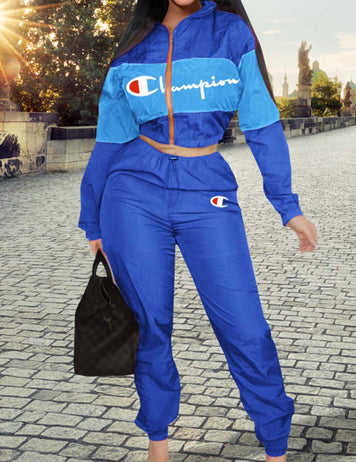 Blue Windbreaker Long Sleeve & Pants Sports Suit