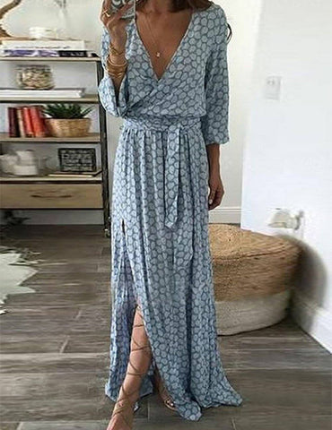 V neck 3/4 Sleeve Light blue  Paneled Print Maxi Dress - Fancyqube