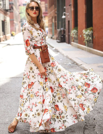 Women Boho Half Sleeve Floral Printed Slim Waist Maxi Dress