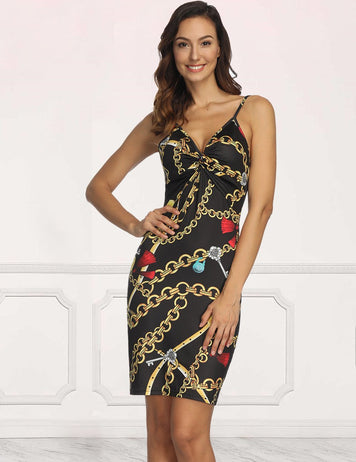 Sexy Spaghetti Strap V Neck Gold Chain Print Holiday Vacation Midi Party Bodycon Dress