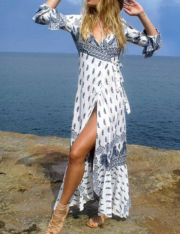 Boho V-Neck Long Sleeve High Slit Beach Maxi Wrap Dress