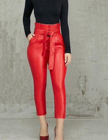 belted red pants