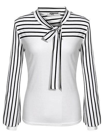 new Bow Tie Neck Striped Long Sleeve Blouse