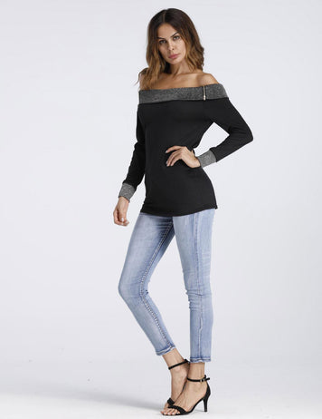 off Shoulder Zipper Long Sleeve Stitching Cotton Top