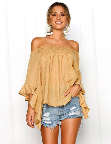 Sexy Off Shoulder Flare Sleeve Irregular Hem Blouse