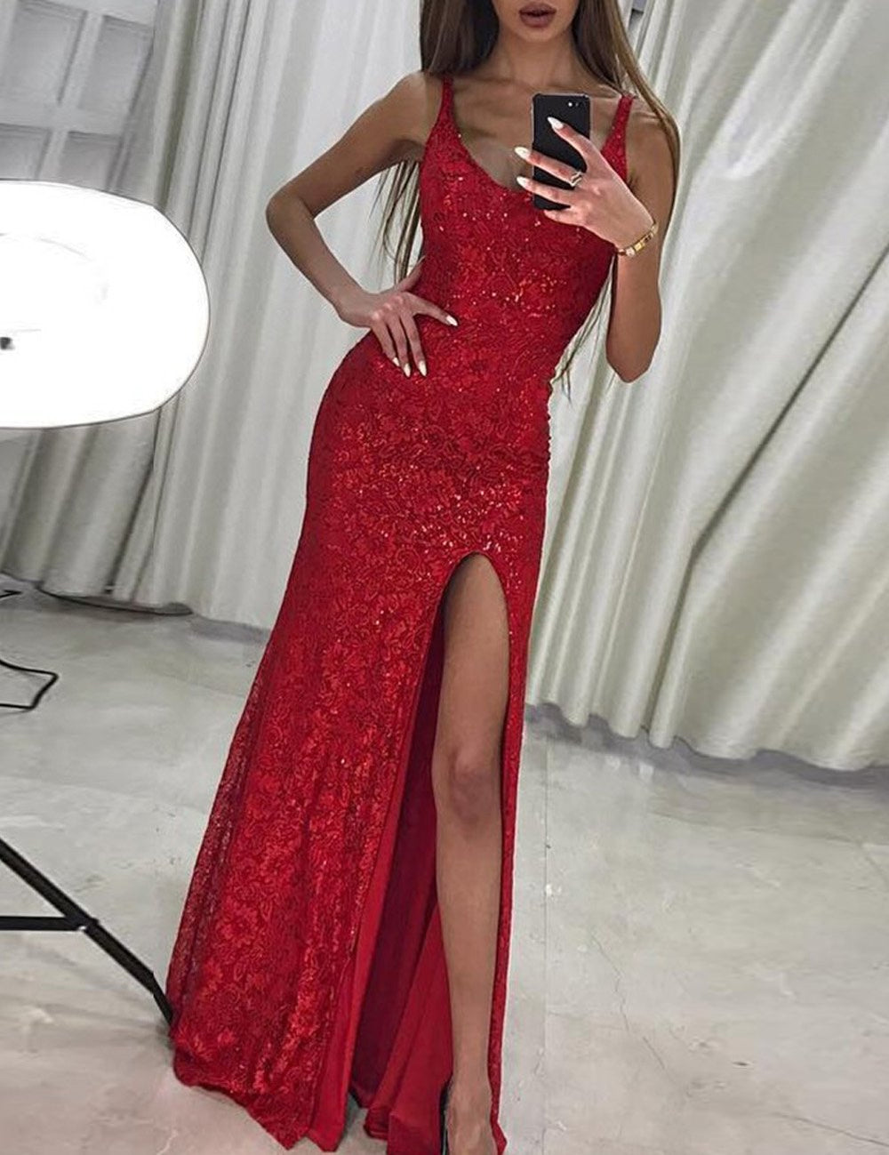 53f6314c89b3f Home Products Sleeveless Side High Slit Sequin Evening Party Gown Long  Dress. sexy prom dress