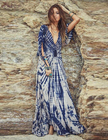 ruffle V-Neck maxi dress