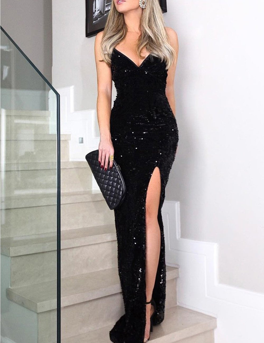 c758809a85a20 Home Products Sleeveless V Neck Long Sequin Evening Party Prom Bodycon High  Slit Dress. side high slit dress
