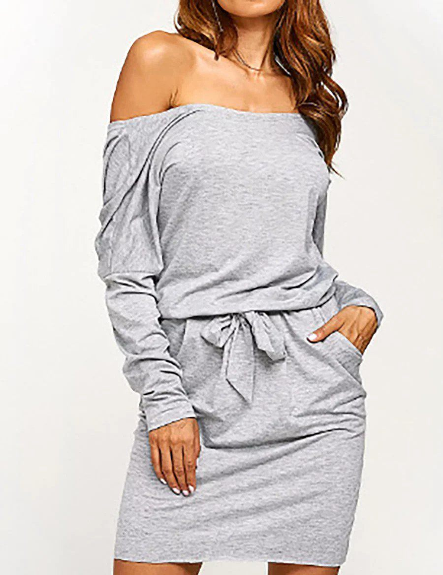 Casual Slim Waist Strapless Long Sleeve Sexy Dress