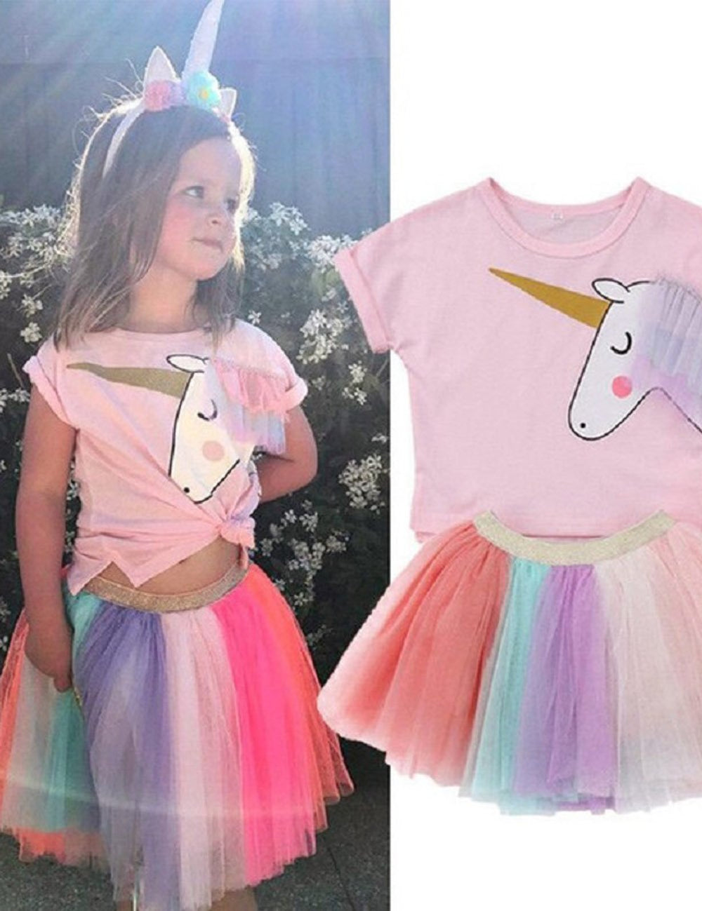 e80e0fd4150 ... Kids Unicorn Rainbow Lace Tutu Tulle Birthday Wedding Party Dress. baby  girl unicorn dress