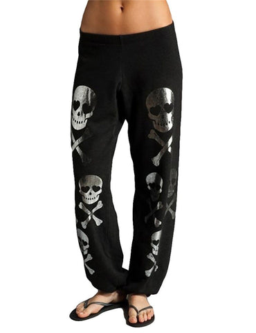 Skull Printed Loose Black Casual Pants - Fancyqube