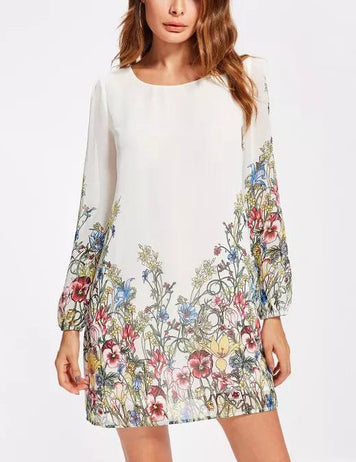 white chiffon floral dress
