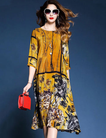 Fashion Retro Style Half Sleeve Floral Printed Midi Dress with Pockets