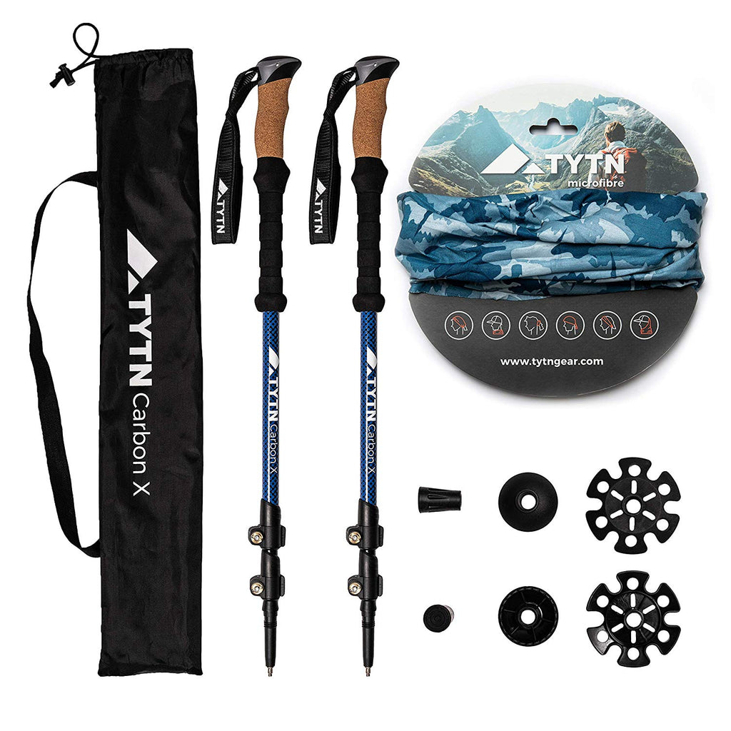 Carbon X Trekking Poles – Ultralight Carbon Fibre Quick Lock, Nordic Style for Hiking, Trekking & Outdoor Pursuits