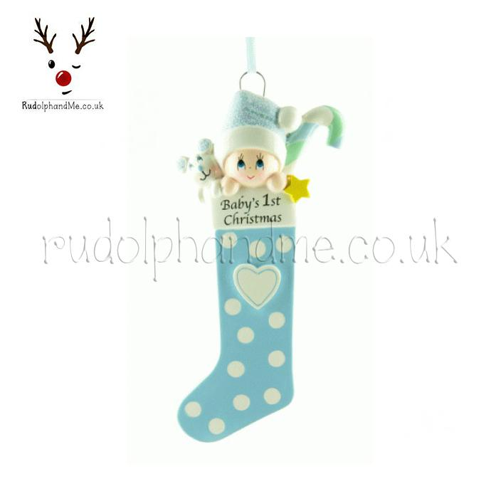 Baby S First Christmas On Blue Stocking From Rudolphandme Co Uk A Personalised Christmas Gift
