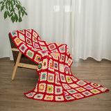Pure handmade Red granny colorful square jointed Air conditioning crochet blanket throw blanket