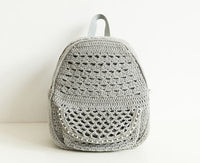 Pure handmade Chanel's style beaded simple color women's crochet backpack