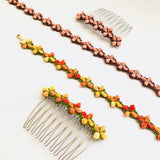 Shereo handmade crochet Japanese style small flowers floret necklace choker with hair comb a set