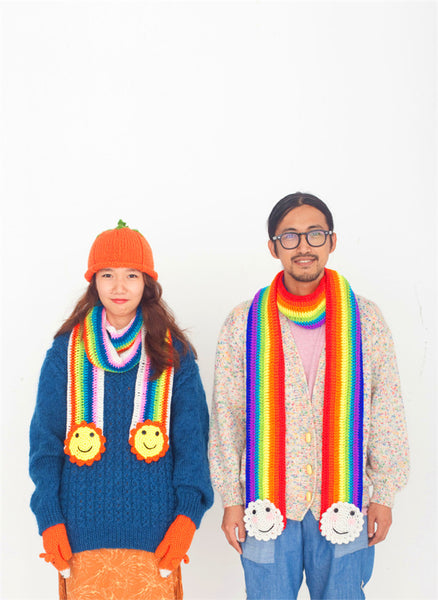 Pure handmade rainbow and cloud crochet scarfs for couples