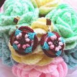 Pure handmade fashion original unique creative floret brick crochet hoop drop earrings a pair