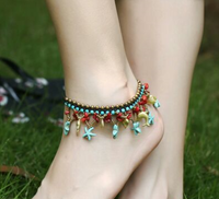 Pure handmade colorful stars anklet #1001