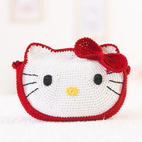 Pure handmade Crochet Children's cute Kitty Crochet shoulder bag
