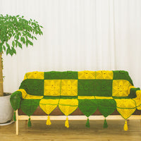 Pure handmade victoria style yellow green square joint crochet blanket sofa cover towel