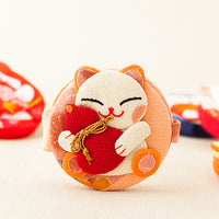 Pure handmade Japanese Style smile cat small mirror
